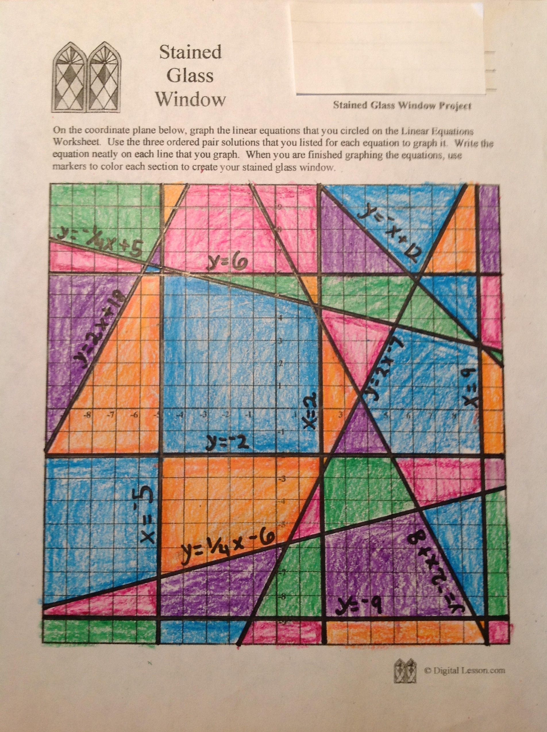 worksheet Graphing Horizontal And Vertical Lines Worksheet stained glass math activity linear equations project sample